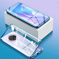 Funda Bumper Lujo Marco de Aluminio Espejo 360 Grados Carcasa para Huawei Enjoy 20 Plus 5G Azul