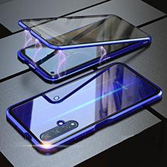 Funda Bumper Lujo Marco de Aluminio Espejo 360 Grados Carcasa para Huawei Honor 20 Azul