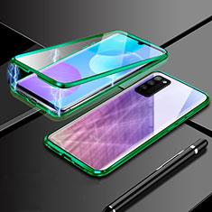 Funda Bumper Lujo Marco de Aluminio Espejo 360 Grados Carcasa para Huawei Honor 30 Lite 5G Verde