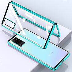 Funda Bumper Lujo Marco de Aluminio Espejo 360 Grados Carcasa para Huawei Honor Play4 Pro 5G Cian