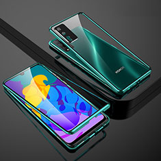 Funda Bumper Lujo Marco de Aluminio Espejo 360 Grados Carcasa para Huawei Honor Play4T Pro Verde