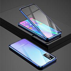 Funda Bumper Lujo Marco de Aluminio Espejo 360 Grados Carcasa para Huawei Honor View 30 Pro 5G Azul