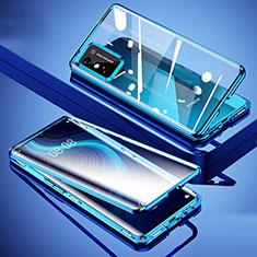 Funda Bumper Lujo Marco de Aluminio Espejo 360 Grados Carcasa para Huawei Honor X10 Max 5G Azul