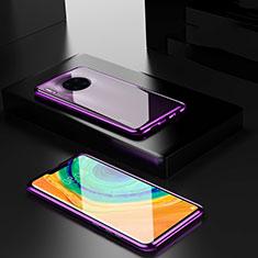 Funda Bumper Lujo Marco de Aluminio Espejo 360 Grados Carcasa para Huawei Mate 30 Pro Morado