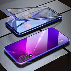 Funda Bumper Lujo Marco de Aluminio Espejo 360 Grados Carcasa para Huawei Nova 5 Azul