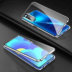 Funda Bumper Lujo Marco de Aluminio Espejo 360 Grados Carcasa para Huawei Nova 7 SE 5G Plata