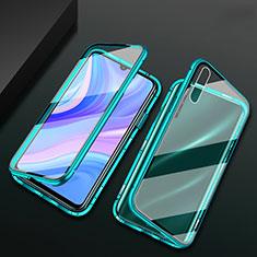 Funda Bumper Lujo Marco de Aluminio Espejo 360 Grados Carcasa para Huawei Y8p Verde