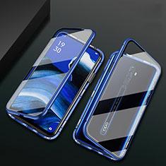 Funda Bumper Lujo Marco de Aluminio Espejo 360 Grados Carcasa para Oppo Reno2 Z Azul
