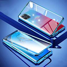 Funda Bumper Lujo Marco de Aluminio Espejo 360 Grados Carcasa para Oppo Reno4 Lite Azul