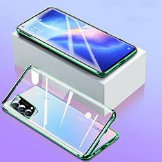 Funda Bumper Lujo Marco de Aluminio Espejo 360 Grados Carcasa para Oppo Reno5 5G Verde