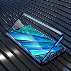 Funda Bumper Lujo Marco de Aluminio Espejo 360 Grados Carcasa para Realme 5i Azul
