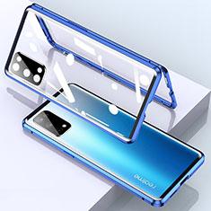 Funda Bumper Lujo Marco de Aluminio Espejo 360 Grados Carcasa para Realme X7 Pro 5G Azul