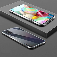 Funda Bumper Lujo Marco de Aluminio Espejo 360 Grados Carcasa para Samsung Galaxy A71 5G Negro