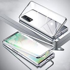 Funda Bumper Lujo Marco de Aluminio Espejo 360 Grados Carcasa para Xiaomi Mi 10T Pro 5G Plata