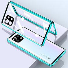 Funda Bumper Lujo Marco de Aluminio Espejo 360 Grados Carcasa para Xiaomi Mi 11 5G Verde
