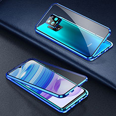 Funda Bumper Lujo Marco de Aluminio Espejo 360 Grados Carcasa para Xiaomi Redmi 10X Pro 5G Azul
