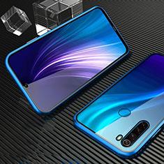 Funda Bumper Lujo Marco de Aluminio Espejo 360 Grados Carcasa para Xiaomi Redmi Note 8 Azul