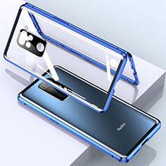 Funda Bumper Lujo Marco de Aluminio Espejo 360 Grados Carcasa para Xiaomi Redmi Note 9 Azul