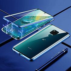 Funda Bumper Lujo Marco de Aluminio Espejo 360 Grados Carcasa T01 para Huawei Mate 20 X 5G Azul