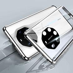 Funda Bumper Lujo Marco de Aluminio Espejo 360 Grados Carcasa T01 para Huawei Mate 40 RS Blanco