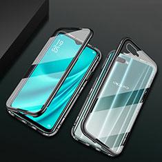 Funda Bumper Lujo Marco de Aluminio Espejo 360 Grados Carcasa T01 para Oppo RX17 Neo Negro