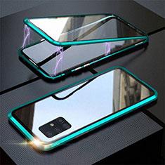 Funda Bumper Lujo Marco de Aluminio Espejo 360 Grados Carcasa T01 para Samsung Galaxy A51 5G Cian