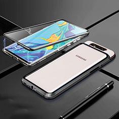 Funda Bumper Lujo Marco de Aluminio Espejo 360 Grados Carcasa T01 para Samsung Galaxy A80 Negro