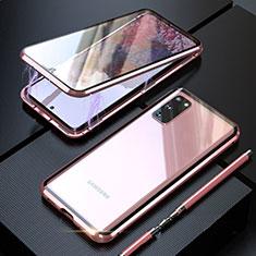 Funda Bumper Lujo Marco de Aluminio Espejo 360 Grados Carcasa T01 para Samsung Galaxy S20 5G Oro Rosa