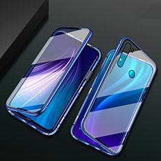 Funda Bumper Lujo Marco de Aluminio Espejo 360 Grados Carcasa T01 para Xiaomi Redmi Note 8 Azul