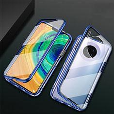 Funda Bumper Lujo Marco de Aluminio Espejo 360 Grados Carcasa T02 para Huawei Mate 30 Azul