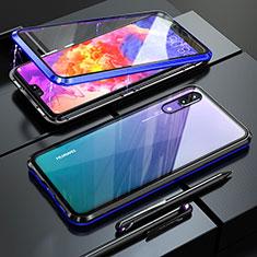 Funda Bumper Lujo Marco de Aluminio Espejo 360 Grados Carcasa T02 para Huawei P20 Azul
