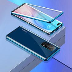 Funda Bumper Lujo Marco de Aluminio Espejo 360 Grados Carcasa T02 para Huawei P40 Pro+ Plus Azul