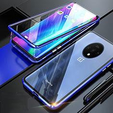 Funda Bumper Lujo Marco de Aluminio Espejo 360 Grados Carcasa T02 para OnePlus 7T Azul