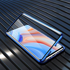 Funda Bumper Lujo Marco de Aluminio Espejo 360 Grados Carcasa T02 para Oppo Reno4 Pro 5G Azul