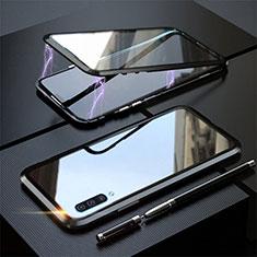 Funda Bumper Lujo Marco de Aluminio Espejo 360 Grados Carcasa T02 para Samsung Galaxy A70S Negro