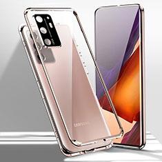 Funda Bumper Lujo Marco de Aluminio Espejo 360 Grados Carcasa T02 para Samsung Galaxy Note 20 Ultra 5G Bronze
