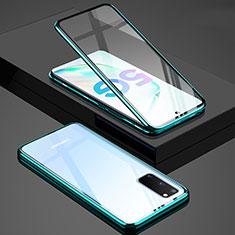 Funda Bumper Lujo Marco de Aluminio Espejo 360 Grados Carcasa T02 para Samsung Galaxy S20 5G Verde