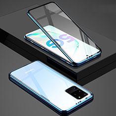 Funda Bumper Lujo Marco de Aluminio Espejo 360 Grados Carcasa T02 para Samsung Galaxy S20 Ultra 5G Azul