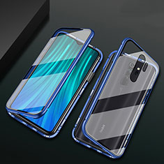 Funda Bumper Lujo Marco de Aluminio Espejo 360 Grados Carcasa T02 para Xiaomi Redmi Note 8 Pro Azul