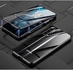 Funda Bumper Lujo Marco de Aluminio Espejo 360 Grados Carcasa T03 para Huawei Honor 20 Pro Negro