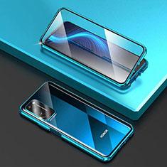 Funda Bumper Lujo Marco de Aluminio Espejo 360 Grados Carcasa T03 para Huawei Honor X10 5G Azul Cielo