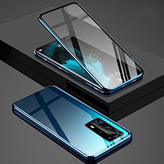 Funda Bumper Lujo Marco de Aluminio Espejo 360 Grados Carcasa T03 para Huawei P40 Pro+ Plus Azul
