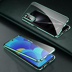 Funda Bumper Lujo Marco de Aluminio Espejo 360 Grados Carcasa T03 para Oppo Find X2 Lite Verde