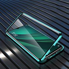 Funda Bumper Lujo Marco de Aluminio Espejo 360 Grados Carcasa T03 para Oppo R17 Pro Verde