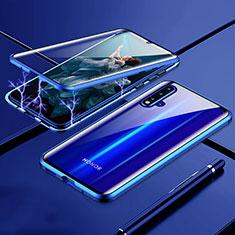 Funda Bumper Lujo Marco de Aluminio Espejo 360 Grados Carcasa T04 para Huawei Nova 5 Azul