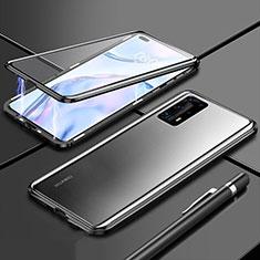 Funda Bumper Lujo Marco de Aluminio Espejo 360 Grados Carcasa T04 para Huawei P40 Pro+ Plus Negro