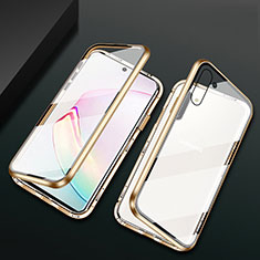 Funda Bumper Lujo Marco de Aluminio Espejo 360 Grados Carcasa T04 para Samsung Galaxy Note 10 5G Oro