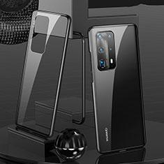 Funda Bumper Lujo Marco de Aluminio Espejo 360 Grados Carcasa T05 para Huawei P40 Pro+ Plus Negro