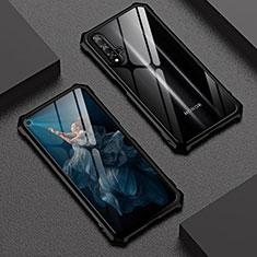 Funda Bumper Lujo Marco de Aluminio Espejo 360 Grados Carcasa T06 para Huawei Honor 20 Negro