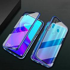 Funda Bumper Lujo Marco de Aluminio Espejo 360 Grados Carcasa T06 para Huawei P30 Lite New Edition Azul